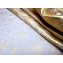 Tkanina obrusowa - świąteczna - biało- złota - gwiazdki