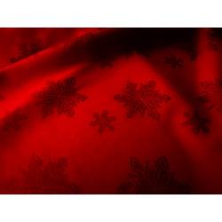 Tkanina obrusowa - świąteczna - czerwona - śnieżynki