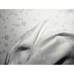 Tkanina obrusowa - świąteczna - biała - gwiazdki