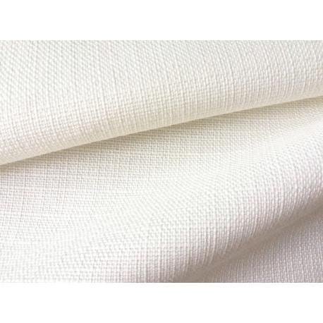Tkanina obrusowa - biała - lniana