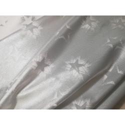 Tkanina obrusowa - świąteczna - biało-srebrne gwiazdki
