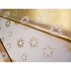 Tkanina obrusowa - świąteczna - biało-złote gwiazdki