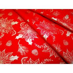 Tkanina obrusowa - świąteczna - czerwono-złota - duże śnieżynki