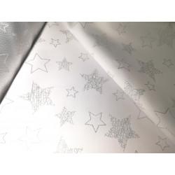 Tkanina obrusowa - świąteczna - biało-srebrne gwiazdki 2