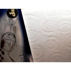 Biały obrus - kółka - ząbek 320x150
