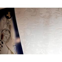 Biały obrus - roślinny - ząbek 320x150
