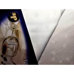 Biały obrus - listki - ząbek 320x140