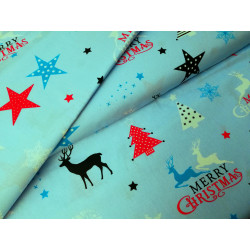 Bawełna - świąteczna - jelenie -niebieskie