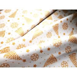 Bawełna - świąteczna - złote choinki