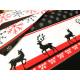 Bawełna - świąteczna - jelenie - czerwono-czarna