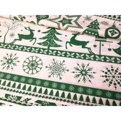 Bawełna - świąteczna - jelenie - zielone
