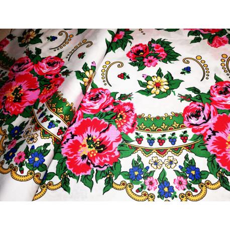 Tkanina ludowa -kwiaty-biała