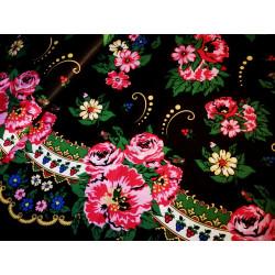 Tkanina ludowa -kwiaty-czarna