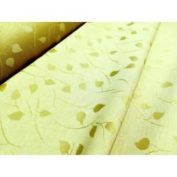 Tkanina obrusowa - pistacjowa - małe listki