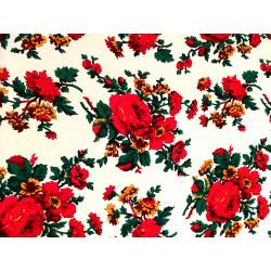 Tkanina ludowa - folk - biała -duże kwiaty