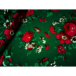 Tkanina ludowa-kwiaty-zielona-duże kwiaty