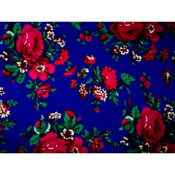 Tkanina góralska-folk-niebieska-duże kwiaty