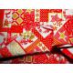 Tkanina świąteczna - biało-złoto-czerwona