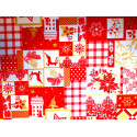 Tkanina obrusowa świąteczna - biało-złoto-czerwona