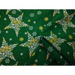 Tkanina obrusowa świąteczna - zielono-złoto-biała