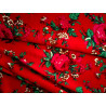 Tkanina góralska-folk-czerwona-duże kwiaty