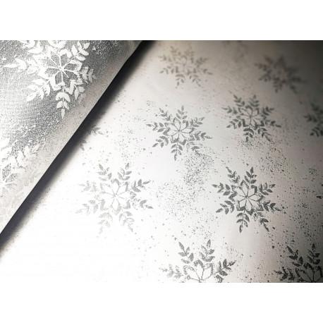 Tkanina obrusowa świąteczna - biało-srebrna - śnieżynki
