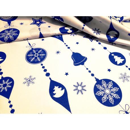 Bawelna - świąteczna - biało-niebieskia - bombki