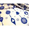Bawełna - świąteczna - biało-niebieskia - bombki