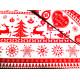 Bawełna - świąteczna - biało-czerwona - choinki