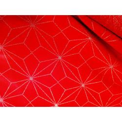 Tkanina obrusowa - świąteczna - czerwono-srebrna - gwiazdy