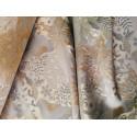 Tkanina obrusowa - świąteczna - biało-szara - złote gwiazdy