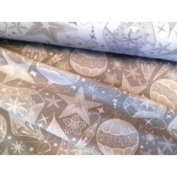 Tkanina obrusowa - świąteczna - jasnoszara - gwiazdy