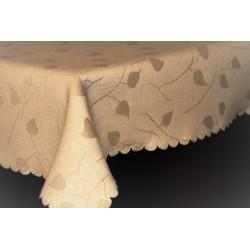 Tkanina obrusowa - kremowa-małe listki