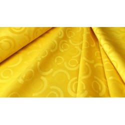 Obrusowa tkanina - kółka - żółta