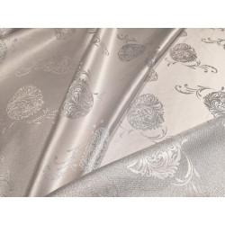 Tkanina obrusowa - świąteczna - biało-srebrna - pisanki