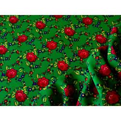 Tkanina góralska - róże - zielona
