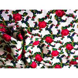 Tkanina góralska - róże - biała