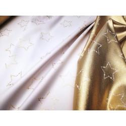 Tkanina obrusowa - świąteczna - biało-srebrna - gwiazdki
