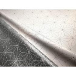 Tkanina obrusowa - świąteczna - biało-srebrna - gwiazdy