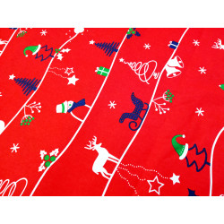 Bawerłna świąteczna - czerwona-sanie i renifery