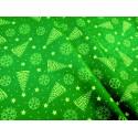 Bawełna - świąteczna - zielono-zlota - choinki