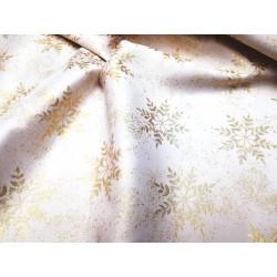 Tkanina obrusowa - świąteczna - biało-złota - śnieżynki